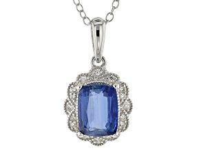Blue kyanite rhodium over silver pendant with chain 2.44ctw