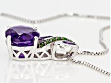 Purple African Amethyst Rhodium Over Sterling Silver Pendant With Chain 2.26ctw