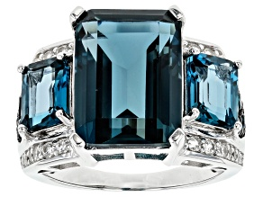 London blue topaz rhodium over silver ring 11.28ctw