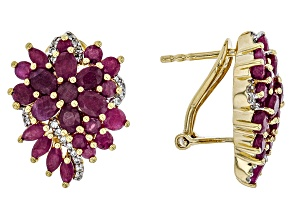 Red Mahaleo(R) ruby 18k yellow gold over silver earrings 6.85ctw