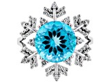 Blue Flora(TM) Mystic Quartz(R) silver ring 4.69ctw
