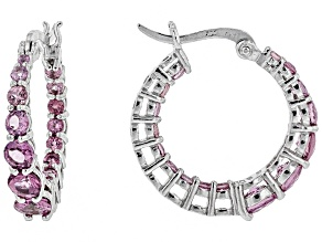 Pink blush color garnet rhodium over silver in/out hoop earrings 3.52ctw