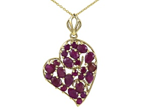 Red ruby 18k  gold over silver heart pendant with chain 7.45ctw