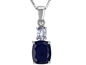 Blue Sapphire Rhodium Over Silver Pendant with Chain 3.86ctw