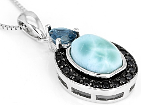 Blue Larimar Rhodium Over Silver Pendant With Chain .76ctw