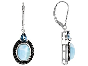 Blue Larimar Rhodium Over Sterling Silver Earrings 1.56ctw