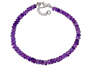 Purple African Amethyst Bead Rhodium Over Silver Bracelet 25.00ctw
