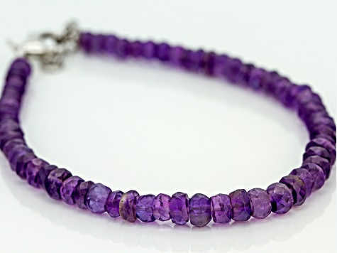 Amethyst Bracelet Genuine Banded Gemstone Beads Sterling Silver 7.0 Inch