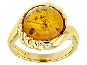 Orange amber 18k gold over silver ring