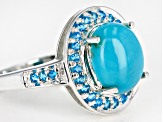 Blue turquoise sterling silver ring .22ctw
