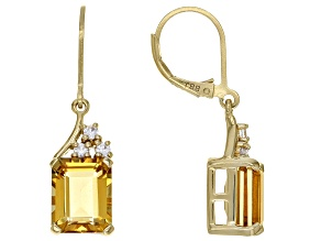 Yellow Citrine 18k Yellow Gold Over Sterling Silver Dangle Earrings 5.62ctw