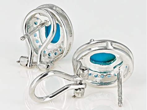 Blue turquoise sterling silver earrings .26ctw