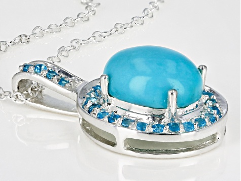 Blue turquoise sterling silver pendant with chain .21ctw