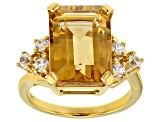 Yellow Citrine 18k Yellow Gold Over Sterling Silver Ring 7.00ctw