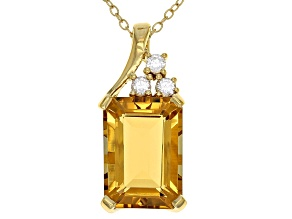 Yellow Citrine 18k Gold Over Silver Pendant with Chain 6.27ctw