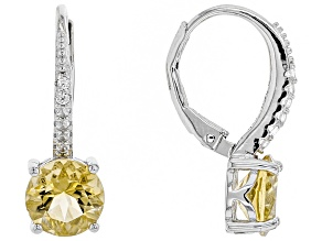 Yellow citrine rhodium over silver earrings 2.74ctw