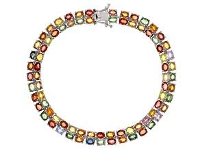 Multicolor sapphire rhodium over silver bracelet 19.05tw