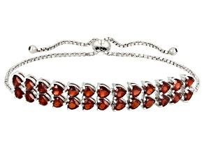 Red garnet rhodium over silver bracelet 6.76ctw