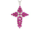Red Lab Created Ruby Rhodium Over Sterling Silver Cross Pendant With Chain 5.94ctw