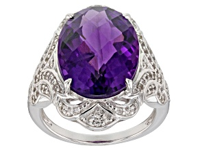 Purple African amethyst rhodium over silver ring 7.79ctw
