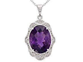 Purple African amethyst rhodium over silver pendant with chain 7.60ctw