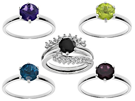 Multi gemstones rhodium over silver 5 solitaire rings with 1 enhancer set 7.36ctw