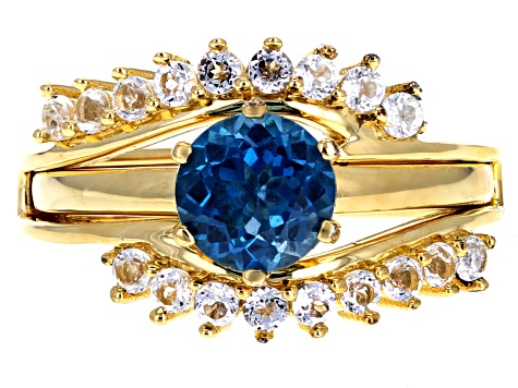 Multi gemstones 18k yellow gold over sterling silver ring 6.78ctw