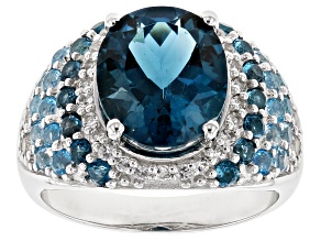 Blue topaz rhodium over silver ring 7.15ctw