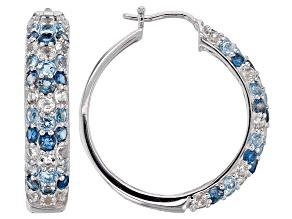 Blue topaz rhodium over silver earrings 5.53ctw