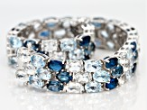 Blue topaz rhodium over silver bracelet 44.37ctw