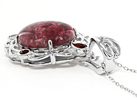 Red thulite rhodium over silver enchancer with chain 1.53ctw