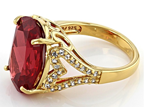Orange Lab Padparadscha Sapphire 18k Gold Over  Silver Ring 11.10ctw