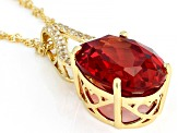 Orange Lab Padparadscha Sapphire 18k Gold Over  Silver Pendant with Chain 12.65ctw