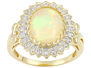 Womens Halo Ring Genuine Opal White Diamond 10kt Yellow Gold