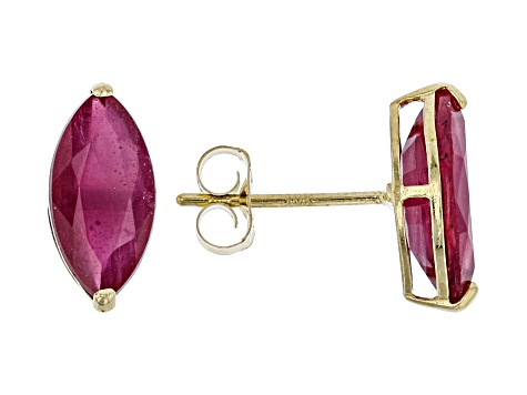 Red Mahaleo® Ruby 10k Yellow Gold Stud Earrings 2.05ctw