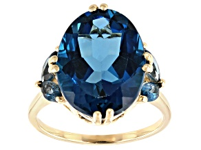 London Blue Topaz 10k Gold Ring 10.74ctw