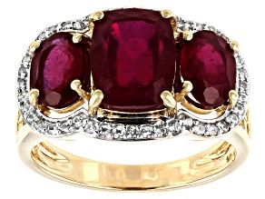 Red Mahaleo® Ruby 10k Yellow Gold Ring 4.78ctw