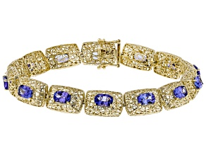 Blue Tanzanite 10k Yellow Gold Bracelet 6.42ctw