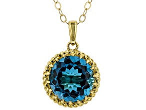 London Blue Topaz 10k Gold Pendant With Chain 4.60ct