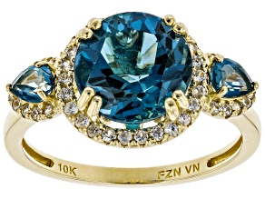 London Blue Topaz 10k Yellow Gold Ring 4.57ctw