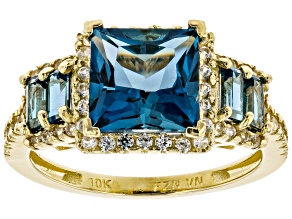 London Blue Topaz 10k Yellow Gold Ring 4.42ctw