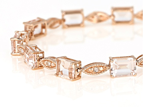 Pink Morganite 14k Rose Gold Bracelet 8.74ctw