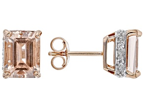 Pink Cor-De-Rosa™ Morganite 10k Rose Gold Earrings 3.08ctw