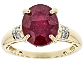Red Mahaleo® Ruby 10k Yellow Gold Ring 5.58ctw