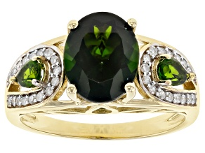 Green Russian Chrome Diopside 10k Yellow Gold Ring 3.21ctw