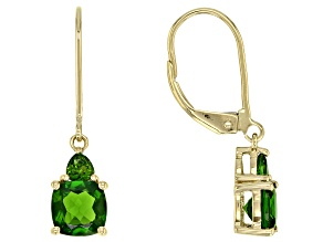 Green Russian Chrome Diopside 10k Gold Dangle Earrings 1.41ctw