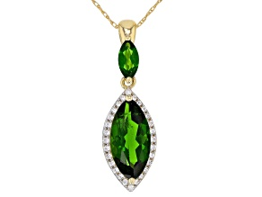 Green Chrome Diopside 10k Gold Pendant With Chain 1.99ctw