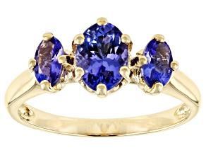 Blue Tanzanite 10k Yellow Gold 3-Stone Ring 1.05ctw