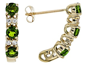 Green Russian Chrome Diopside 10k Yellow Gold Earrings 1.17ctw