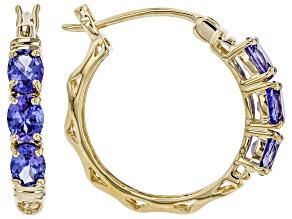 Blue Tanzanite 10k Yellow Gold Hoop Earrings 1.73ctw